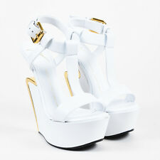 "Giuseppe Zanotti White & Gold Tone Leather T Strap ""Jeti"" Wedge Sandals SZ 37"