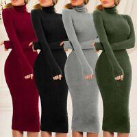 Sweater Dress Women Jumper Slim Fitness Turtleneck Winter Party Long Warm Soft
