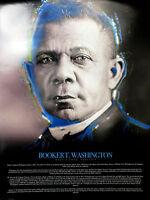 Booker T Washington Poster w/ Biography African American Wall Art Photo (18x24)