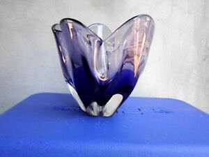 murano amethyst 5 leaf vase