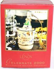 Lenox Celebrate 2000 Millennium Edition Christmas Ornament Korbel Bottle in Bckt