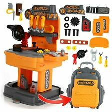Kids Tool Set, Backpack 2 in 1 Tool Workbench Toy, Removable Carpenter