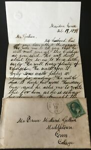 1879 LETTER & ENVELOPE MIDDLETOWN CONNECTICUT- CANNON WILL ARRIVE IN THE MORNING