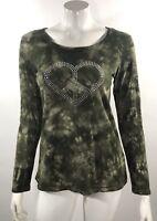 Weatherproof Womens Top Size Medium Green Long Sleeve Tie Dye Rhinestone Heart