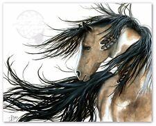 MM89 Majestic Pinto Horse Spirit Feathers - Hand Signed Bihrle Art Print 16x20