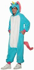 Adult One Piece Blue Unicorn Costume Animal Jumpsuit with Hood Size Standard