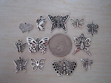Mixed lot of 12 Different Silver Butterfly Theme Pendants Charms Mix no repeats!