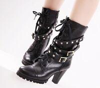 Women Black Genuine Leather Punk Lace Up Rivet Motorcyle Military Combat Boots