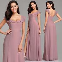 Ever-Pretty Ruffles Fishtail Dress Long Side Slit Backless Bridesmaid Dresses