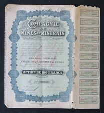 Action COMPAGNIE DE MINES ET MINERAIS BRUXELLES  titre bond share 5