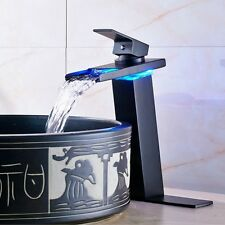 """LED Light Waterfall Bath Sink Faucet Countertop Mixer Tap with 10"""" Escutcheon"""
