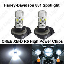 2x Xenon White 881 Spotlight Fog LED Bulbs for Harley Davidson Motorcycle Models