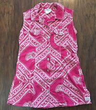 Oilily Girls 104 cm 4-5 Pink Bandana Print Cowgirl Dress Cotton 71710 EUC