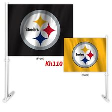 NFL Pittsburgh Steelers Car Auto Flag & Pole 2 sided 2 Tone Color