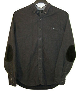 J. Crew Button Down Shirt Mens Size L Wool Blend Leather Elbow Patches Charcoal