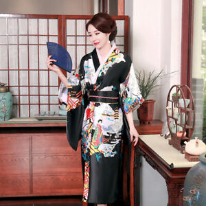 Women's Summer Sexy Pajamas, Japanese Kimono, Home Sleeved Night Gown, Bathrobe