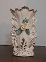 Antique French Vieux Bruxelles Paris Porcelain Fan Flair Bridal Vase Hallmarked