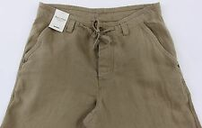 Men's MURANO Dark Khaki Tan Brown LINEN Drawstring Pants 33x32 NEW NWT Nice!