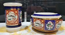 Vintage florentine Saxony Italian ashtray and small vase peacock pattern blue