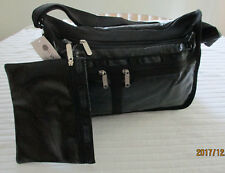 LeSportsac7507 Deluxe Everyday Bag Black Crinkle Patent NWT