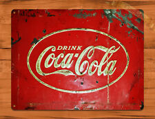 "TIN SIGN ""Old Coca Cola Cooler"" Vintage Soda Ad Garage Wall Decor"