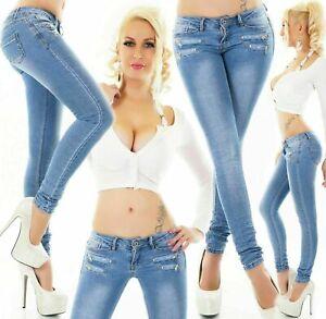 Women's Skinny low waist Jeans Slim stretch denim Pants Light Blue UK 4-12