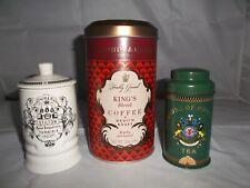 Fortnum & Mason Empty Ceramic Stilton Jars + Storage Tin +Jacksons Picadilly Tea
