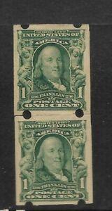 US Scott #314 mint hinged 1c Franklin Vending Coil pair Brinkerhoff Co. type II