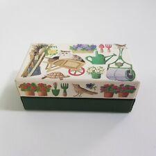 More details for trinket box matthew rice gardening cat print england made 9cm by 5cm brass hinge