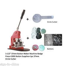 """1-1/2"""" 37mm Pin Badge Button Maker Machine+1000 Buttons+ 37mm Circle Cutter"""