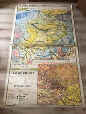 Très grande carte scolaire ecole  Régions De France  Paul KAEPPELIN lib HATIER