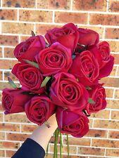 Silk Roses 75 Cm Stem Real Touch. A Dozen Dark Red. Look/Feel Real #SundayMarket