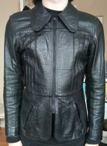 """70s Black Leather Jacket Size Small 34"""" Chest Unisex Good Condition"""