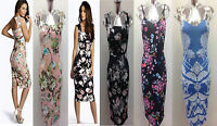 Celebrity Keegan Inspired Womens Ladies Strappy Cami Floral Midi Bodycon Dress