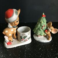 VTG Set of 2 Porcelain Christmas Figurines - Reindeer and Mouse with Christmas T
