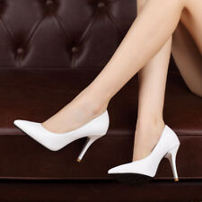 Women Slip On Solid High Heels Pumps Classis Pointed Toe OL Work Court Shoes