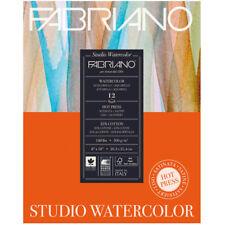 """Fabriano Studio Watercolor Paper 140 lb. Hot Press 12-Sheet Pad 9x12"""""""