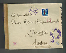 1944 Florence Italy Socialist Republic censored cover to Switzerland Red Cross