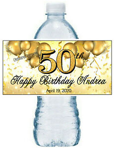 GOLD 50TH BIRTHDAY PARTY FAVORS WATER BOTTLE LABELS ~ PERSONALIZED