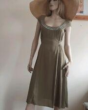 Noa Noa olive green 100% silk midi dress with belt Size S