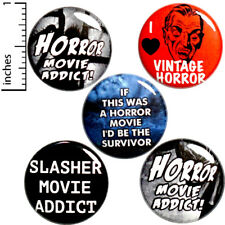 """Horror Movie 5 Pack Buttons Backpack Pins Vintage Horror Movie Addict 1"""" #P11-5"""