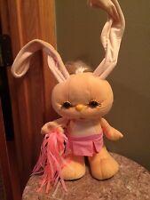 Vintage 1989 grabbits plush stuffed animal yellow cheerleader pom poms skirt