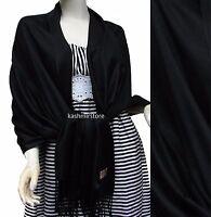 NEW Women Soft PASHMINA SILK Classic Solid Cashmere SHAWL Scarf Stole WRAP Black