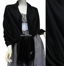 NEW Women Solid 100%Pashmina Wrap Stole Cashmere Wool Shawl/Scarf Soft Black