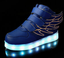 New Boys Girls LED Light up Lace Up Luminous Sneakers Kids Casual Shoes