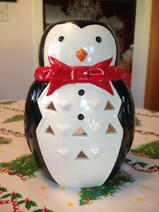 Large Christmas Penguin w Red Bow Tie Votive Tealight Candle Holder Rare New