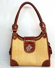 Vintage Jute Handbag Brown Woven Wicker Messenger Croco Trim Shoulder Bag Organi