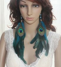 21B1-25 Bead Chain Peacock Blue Feather Earrings Jewelry 1 Pair lhf131117