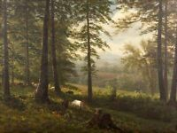 Dream-art Oil painting cows in summer landscape forest canvas handpainted 36""
