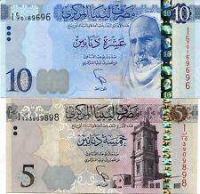 LIBYA SET 2 PCS 5 10 DINARS 2015 P NEW DESIGN UNC